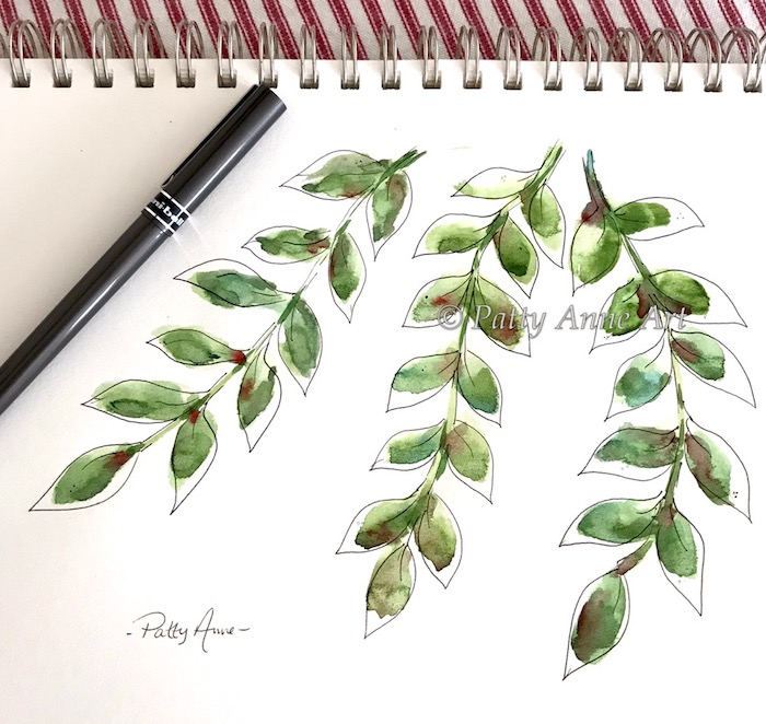 watercolor and ink vines