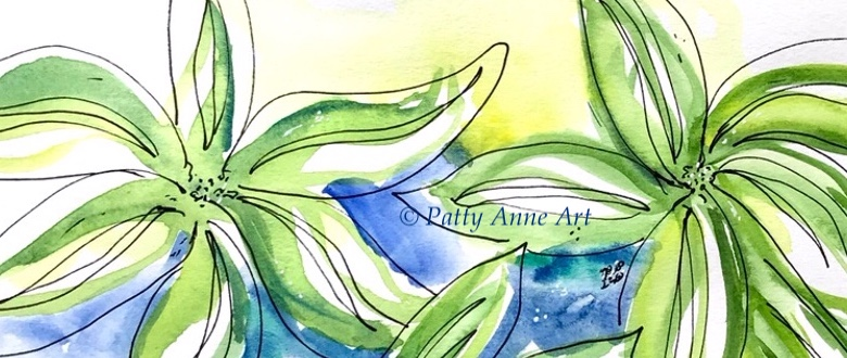 Lemon Lime watercolor leaves