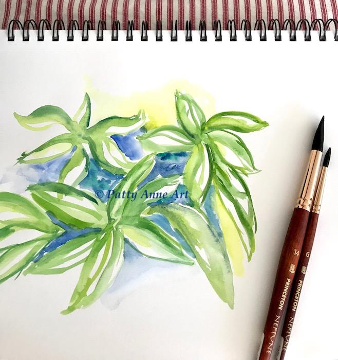 Lemon lime leaves watercolor underpainting