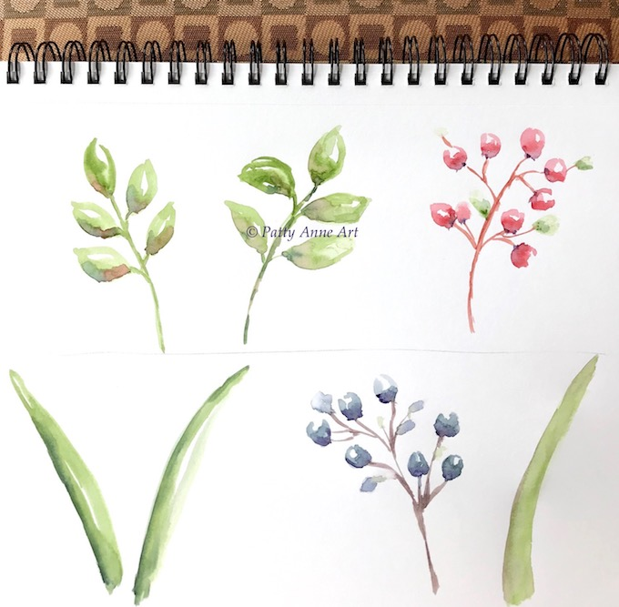 watercolor leaves and berries