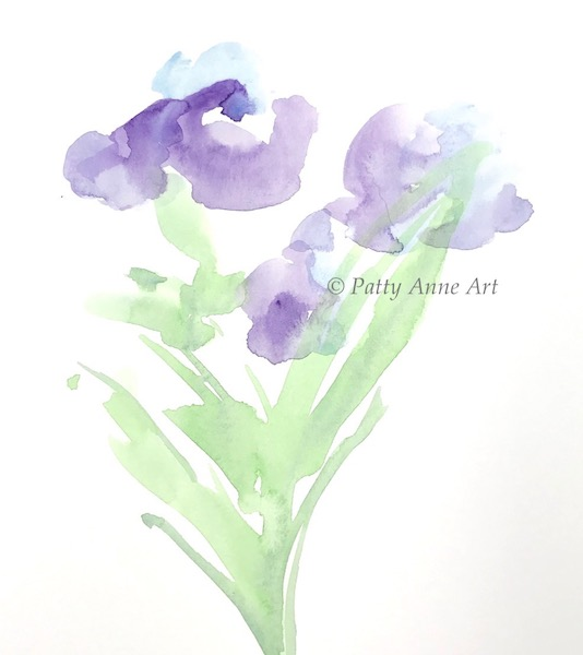 watercolor floral underpainting
