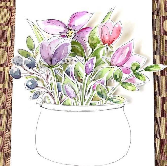 floral watercolor card arrangement
