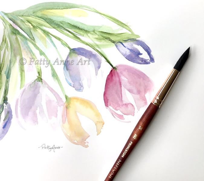 Tulip bunch watercolor
