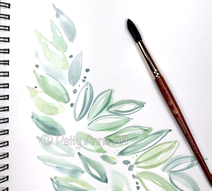 watercolor under painting of leaves