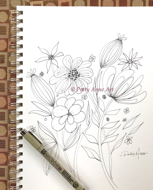 bloom and shine ink sketch