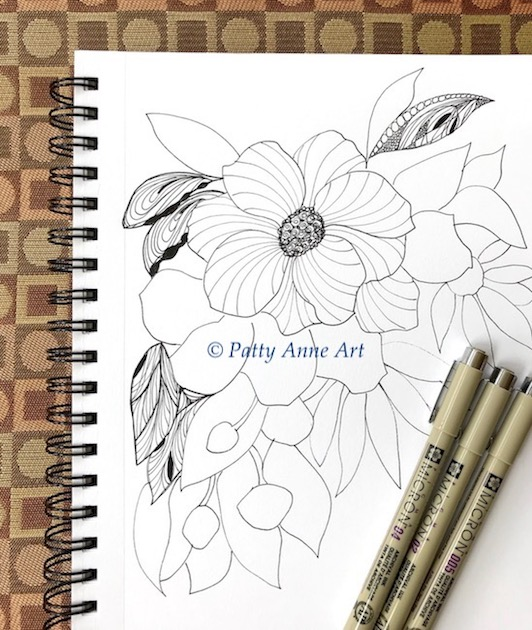 floral zentangle ink sketch step 2