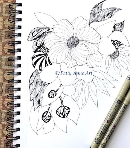 floral zentangle ink sketch part 3