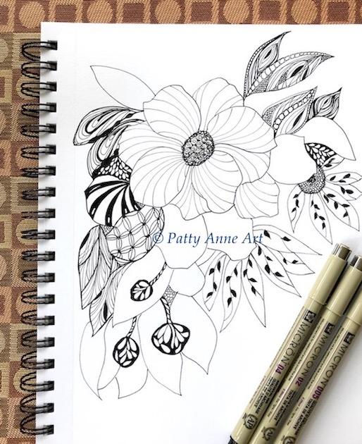 floral zentangle ink sketch part 4