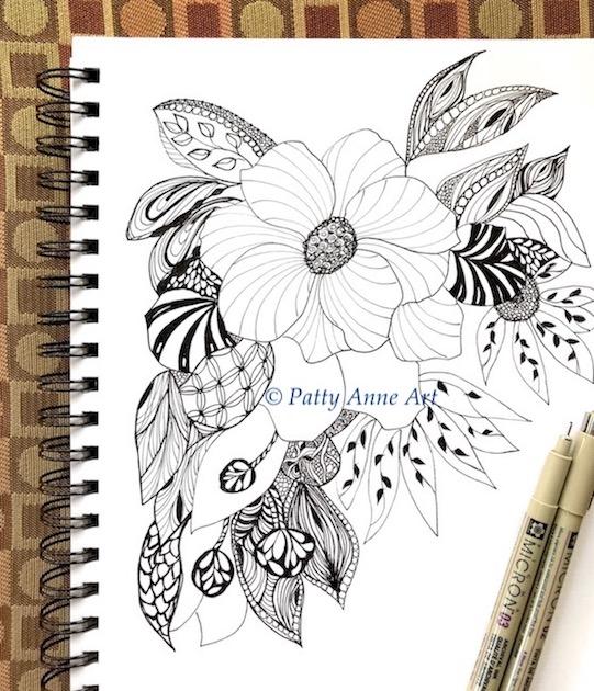 floral zentangle ink sketch 5