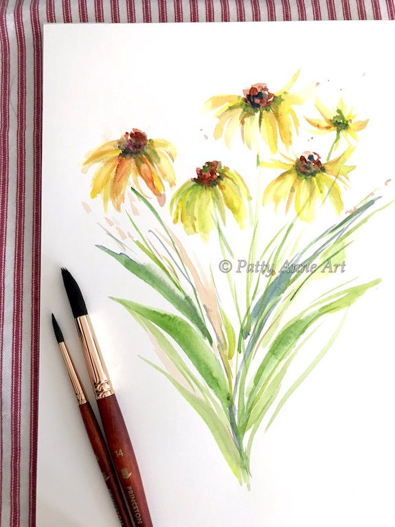 Sunny watercolor daisies painting