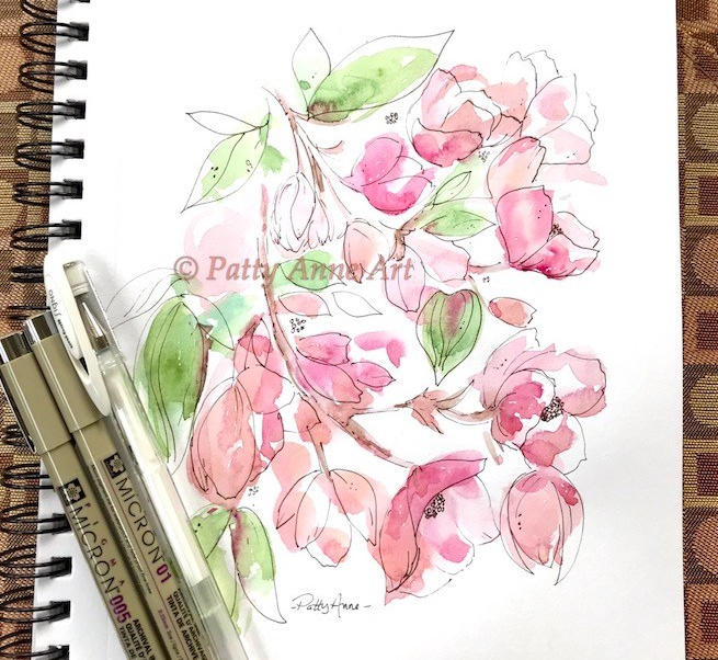 Dogwood watercolor and ink painting