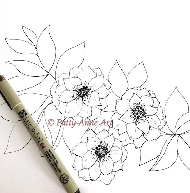 floral ink sketch at the beginning