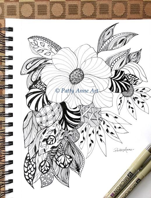 floral zentangle ink sketch