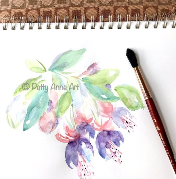 Fuschia watercolor painting