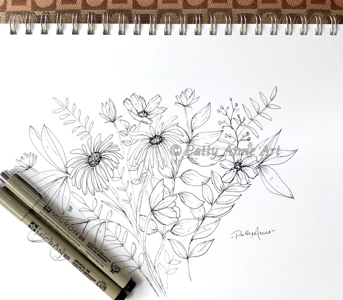 garden flowers ink sketch
