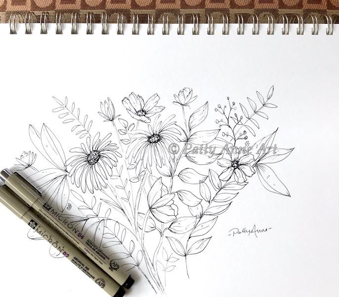 garden flowers ink sketch