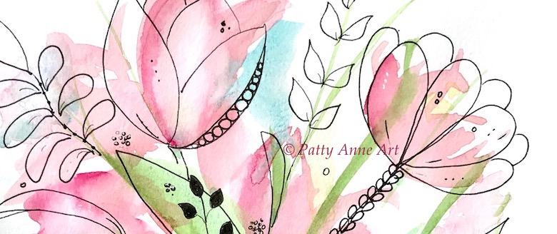 In the Pink watercolor and ink