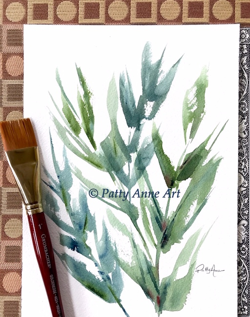 Large watercolor leaves with Flat brush