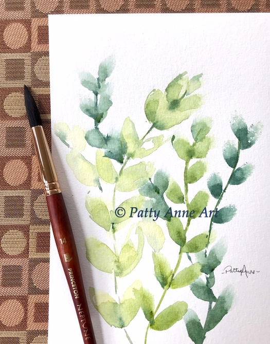 Soft leaves and vines in watercolor