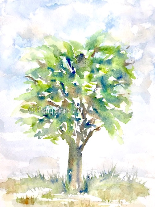 tree of happy watercolor painting