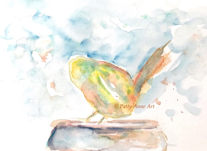 birdie watercolor under painting