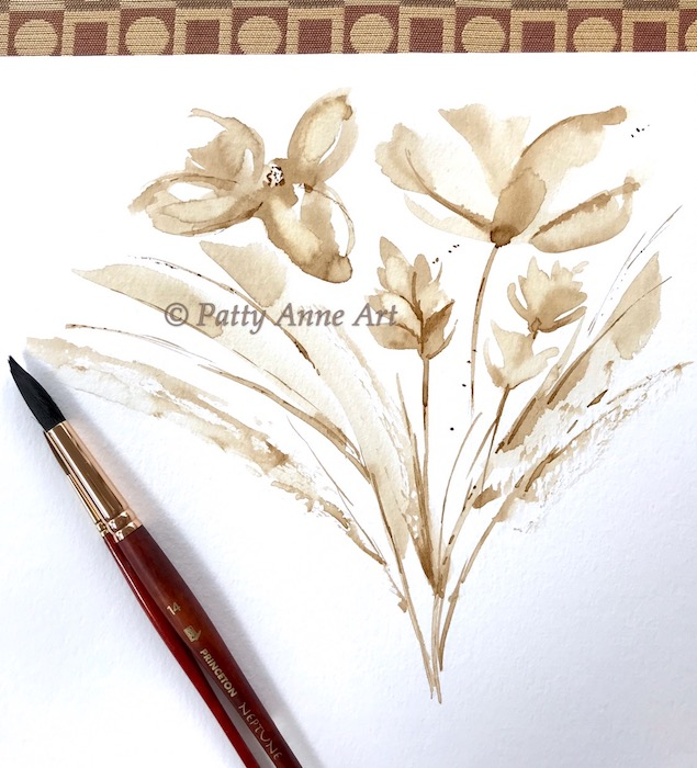 Coffee floral under painting