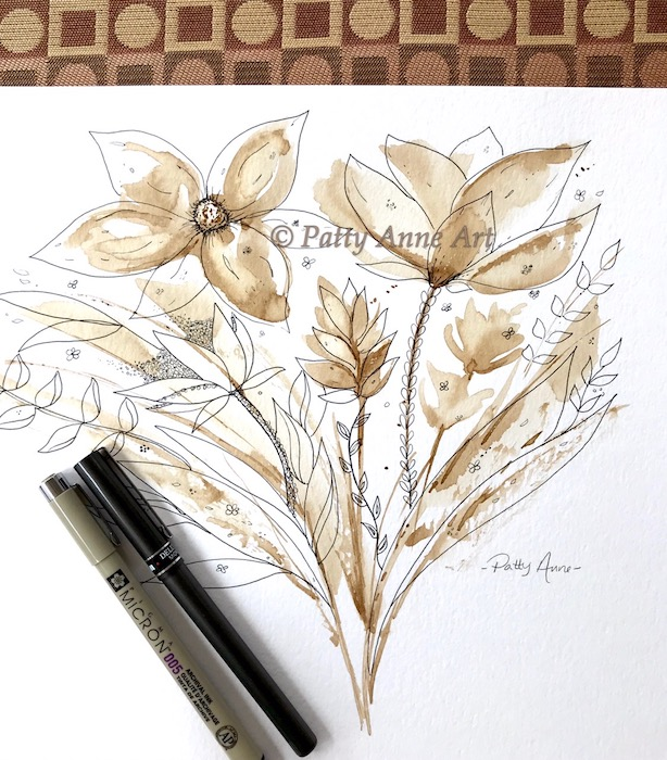 Coffee Floral painting with ink detail