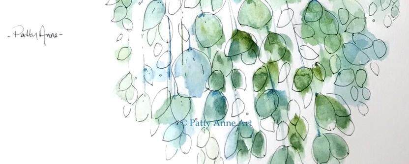 floating leaves watercolor