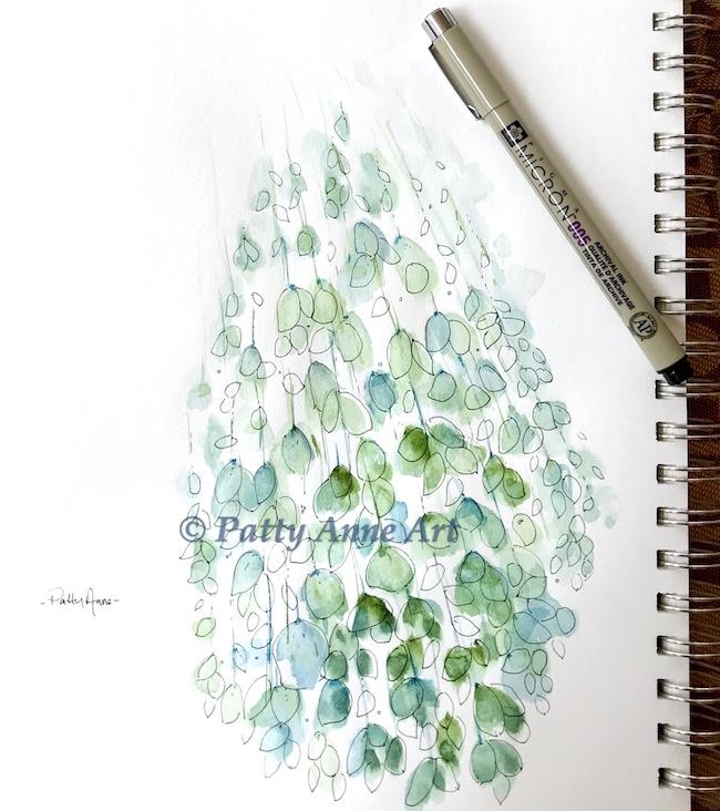 floating leaves watercolor ink sketch