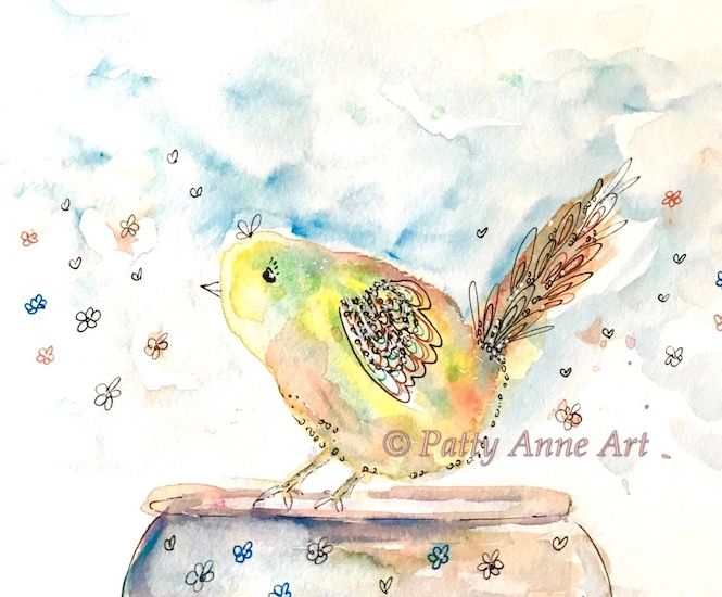 fun little watercolor birdie
