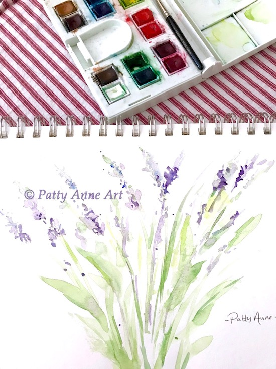 lavender watercolor painting first round