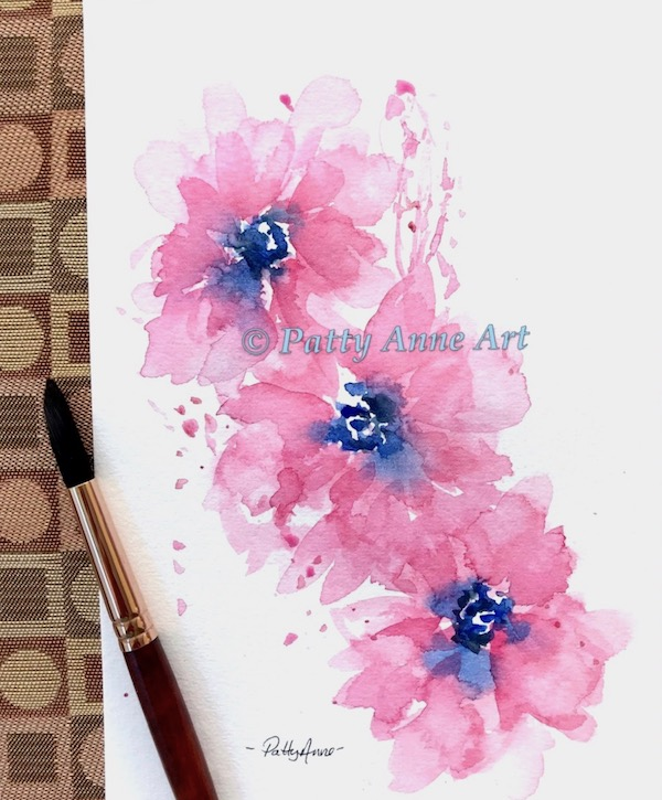 watercolor painting of pink poppies