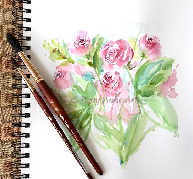 Roses at Longwood Gardens watercolor