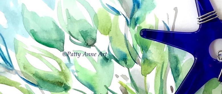 underwater blues abstract watercolor