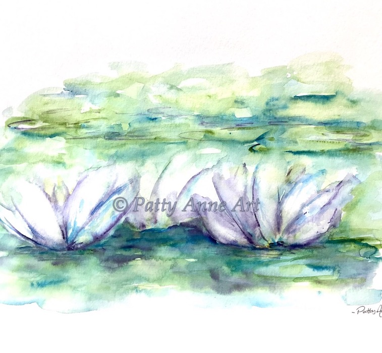 water lily watercolor painting