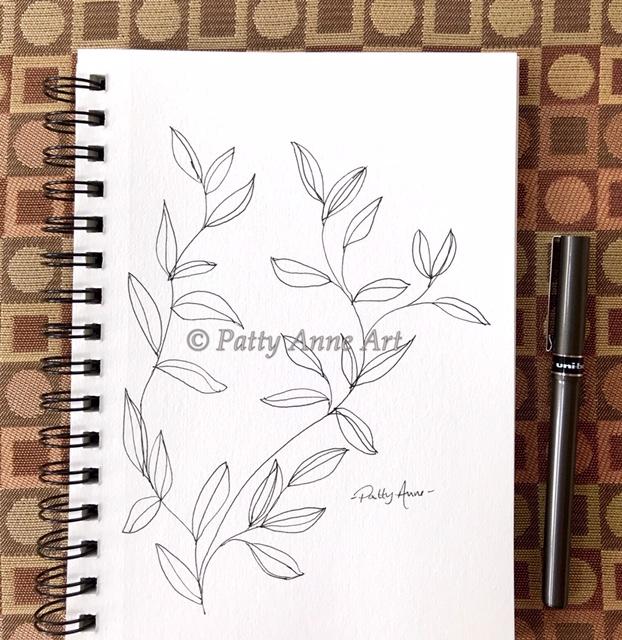 ink sketching vines