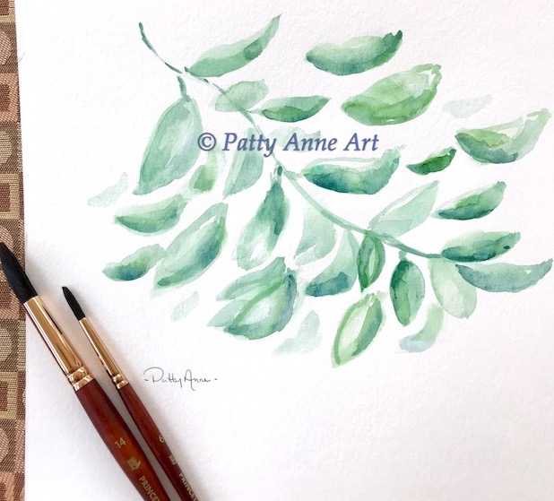 watercolor leaves under painting