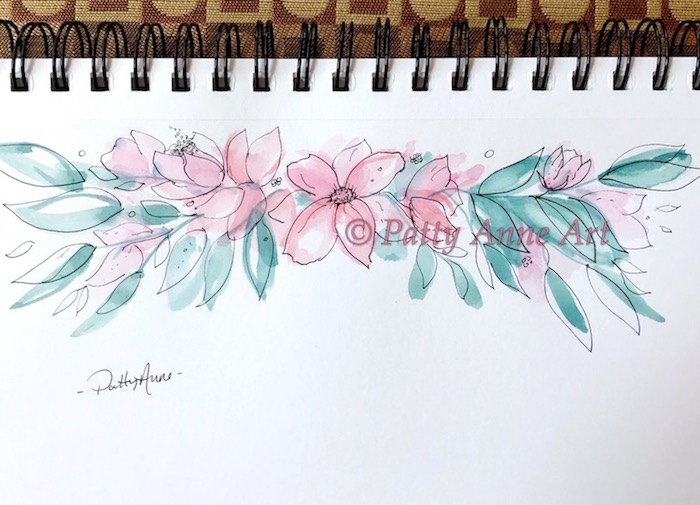 floral banner - watercolor and ink sketch