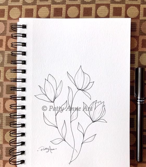 garden blooms ink sketch