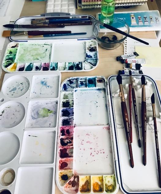 watercolor painting setup