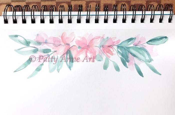 floral banner watercolor under painting