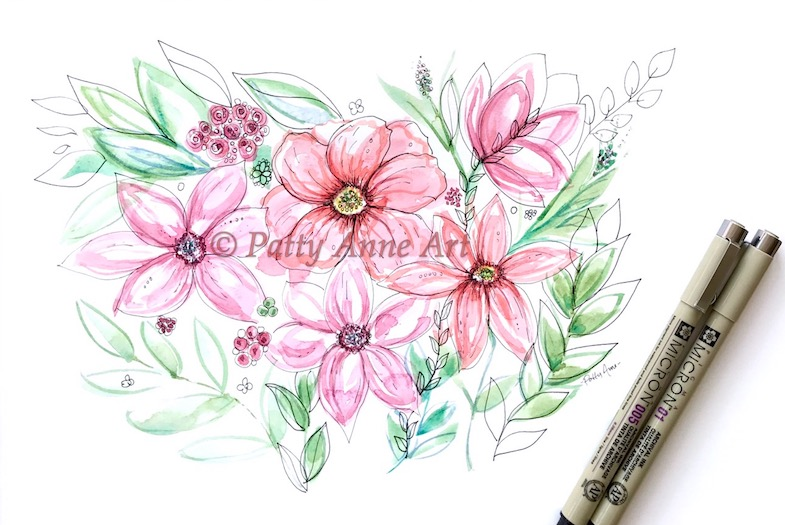 modern watercolor floral