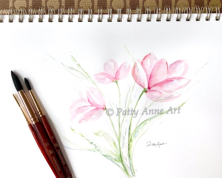 Delicate pink floral watercolor