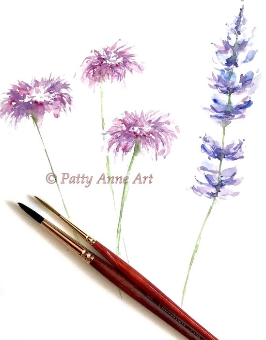 watercolor painting wildflowers