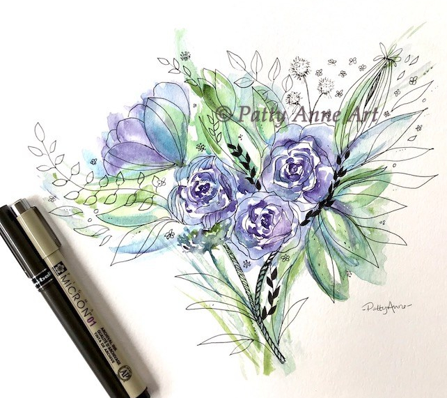 purple roses bouquet watercolor and ink painting