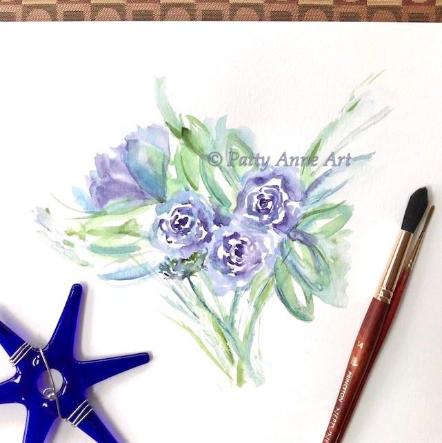 rose bouquet watercolor under painting
