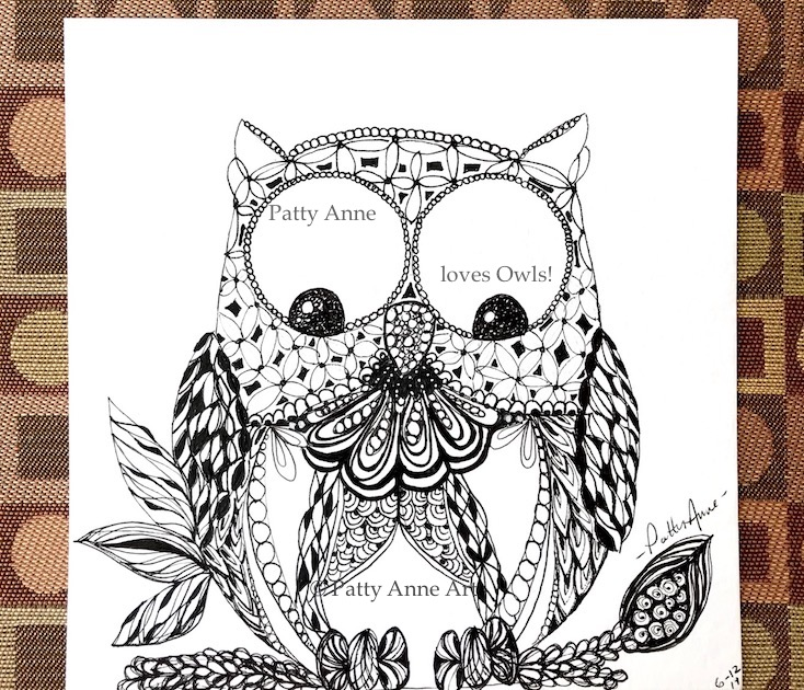 Silly owl zentangle sketch - final