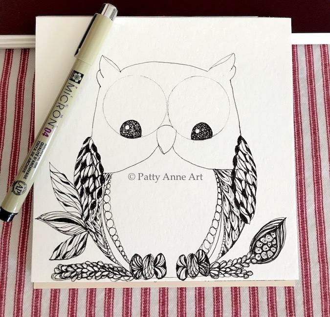 Silly owl zentangle sketch part 1