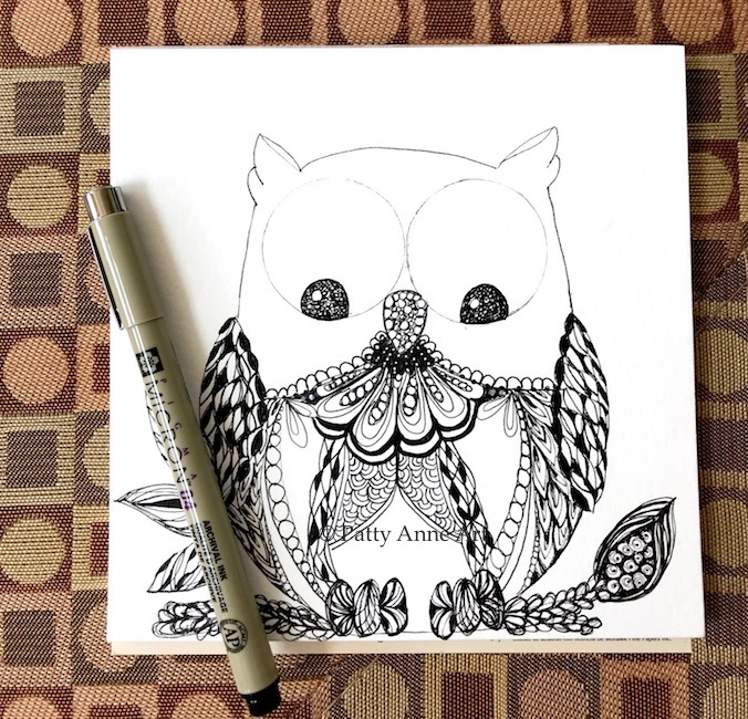Silly owl zentangle sketch - part 2