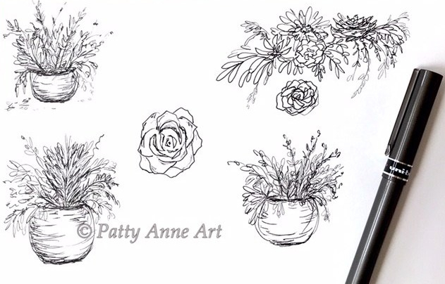 plants and succulent ink sketching